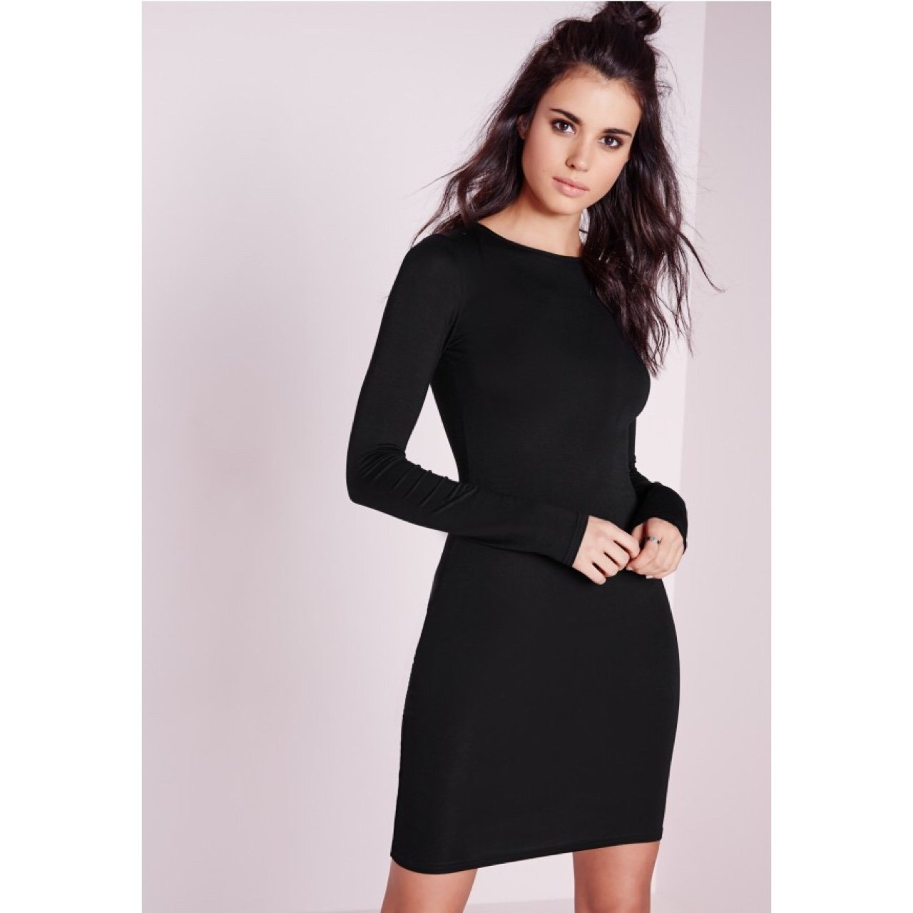 786720bc6593 @laurensw. last year. Brighton, The City of Brighton and Hove, UK. Black long  sleeve jersey bodycon dress.
