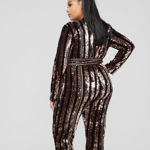 0203e1ef240 Modern Disco Sequin Black and Gold Jumpsuit. Perfect for and - Depop