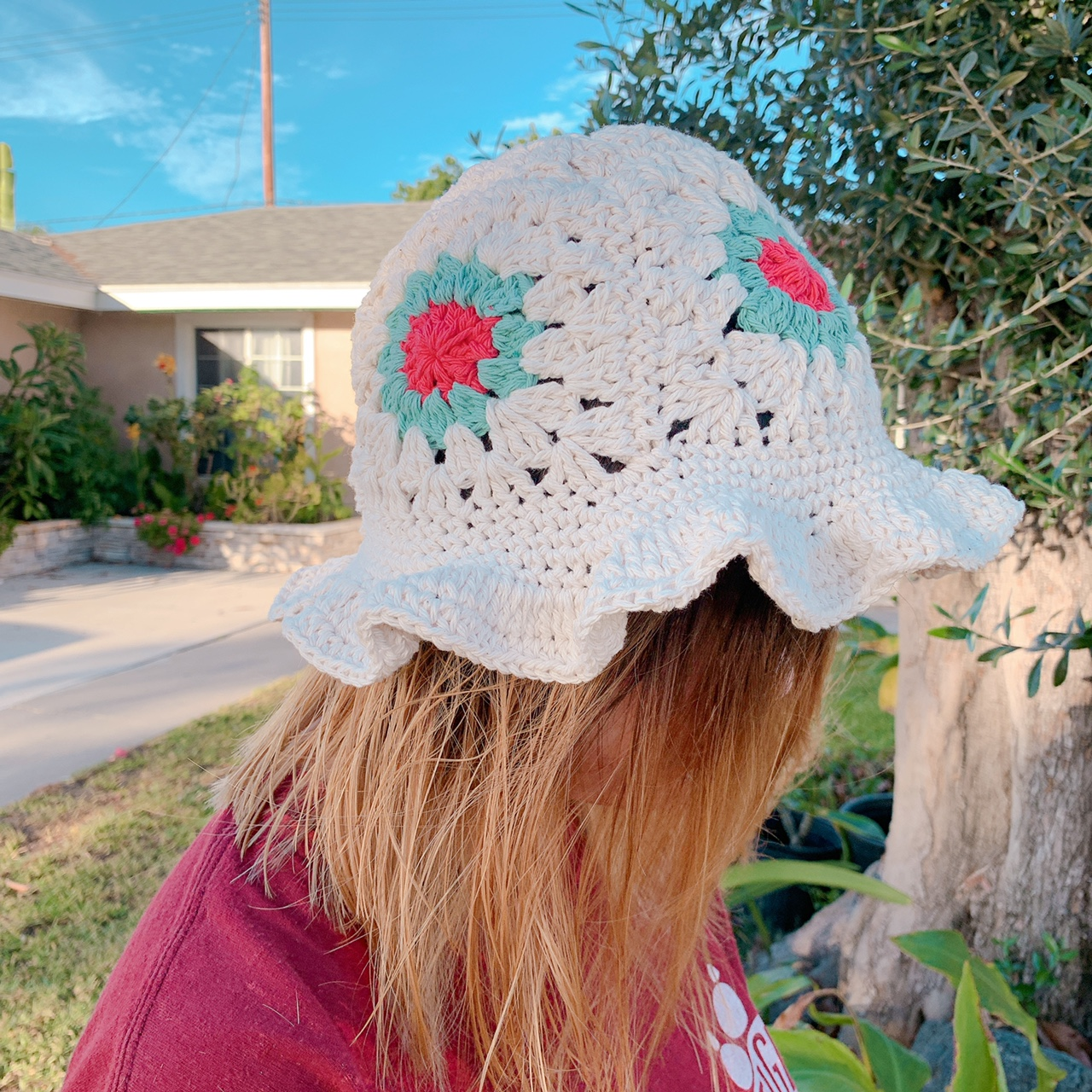 White Granny Square Crochet Bucket Hat Made From Depop