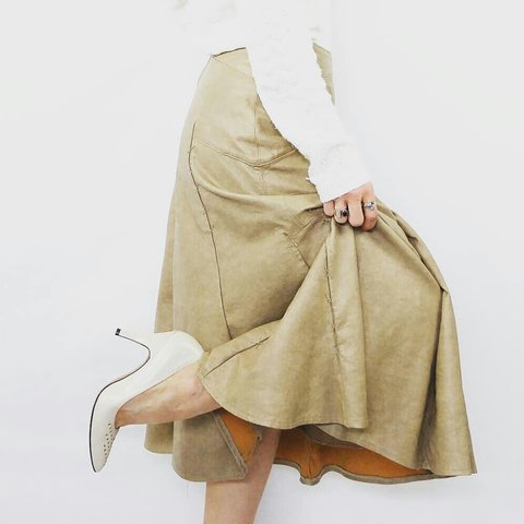 47619995e8 Beige, faux leather circle skirt High, fitted waist with a - Depop