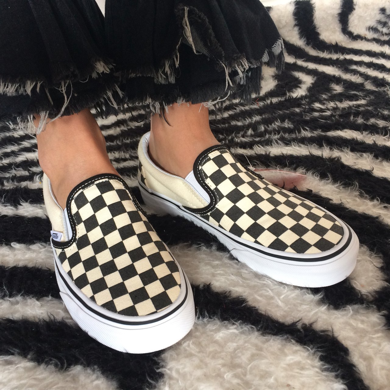 f2e1d26a5082 Black and white checkerboard Vans 👟 size 4. Never worn so - Depop