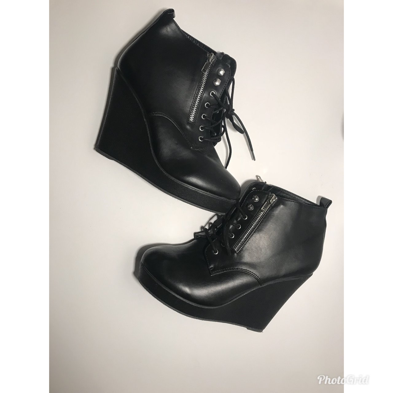 f3a882985a7e Top Moda wedge black booties. Slightly worn. - Depop