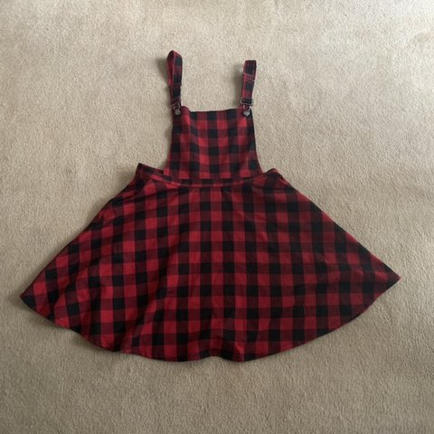 0e72a794f1 Plaid overall skirt from Hot Topic with pockets. Only worn a - Depop