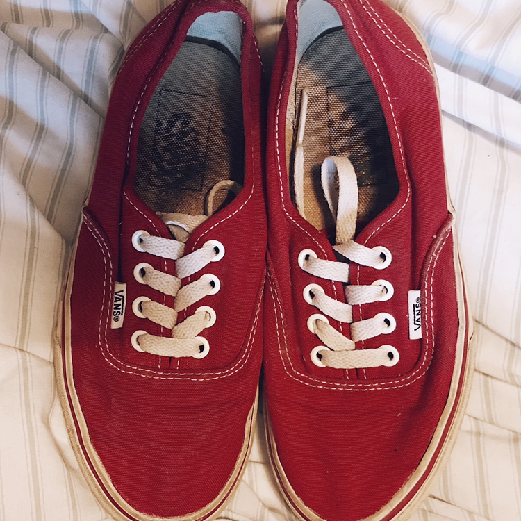 Size 3 red vans, still in good condition. OPEN TO Depop