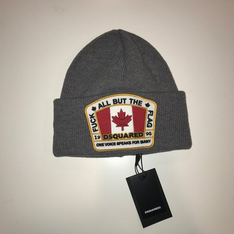 """544b59a9b3e DSQUARED2 grey """"fuck all but the flag"""" beanie. •BRAND NEW! - Depop"""