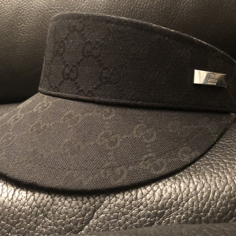 6719a29353a04 Black in color Gucci made in Italy Visor Hat. Has a Velcro - Depop