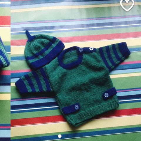 ad223b9d0aa Handmade hand knitted jumper and hat set for baby boy or My - Depop