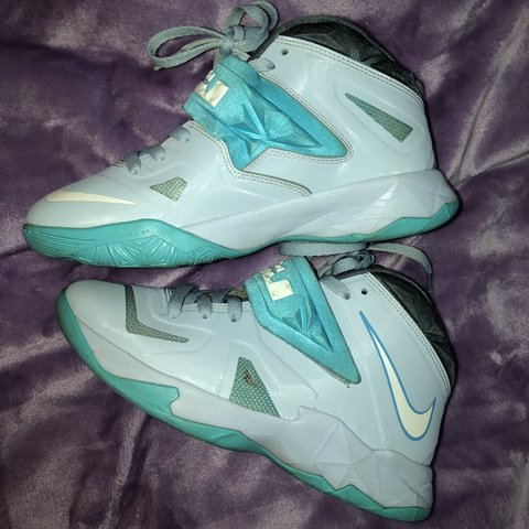 14ea1516aab4 Nike LeBron High Tops 🤖 Color  Teal   Grey Size  6 Worn to - Depop