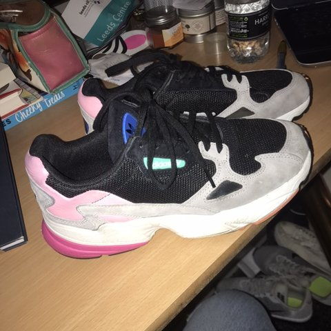 best sneakers 55e10 e0211 Adidas Falcon grey pink green orange trainers, really good a - Depop adidas  falcon grey