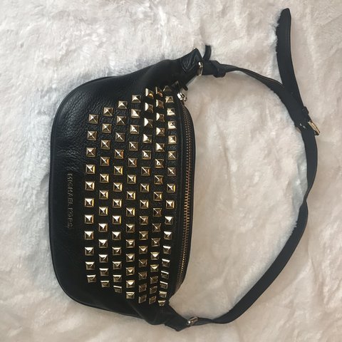 8b668876107d49 Michael Kors Rhea Leather Studded Belt Bag. Like New. Black. - Depop