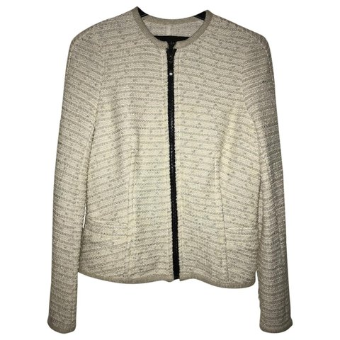 9e1ead05 Zara knitted jacket. Tweed style knit. White with silver and - Depop
