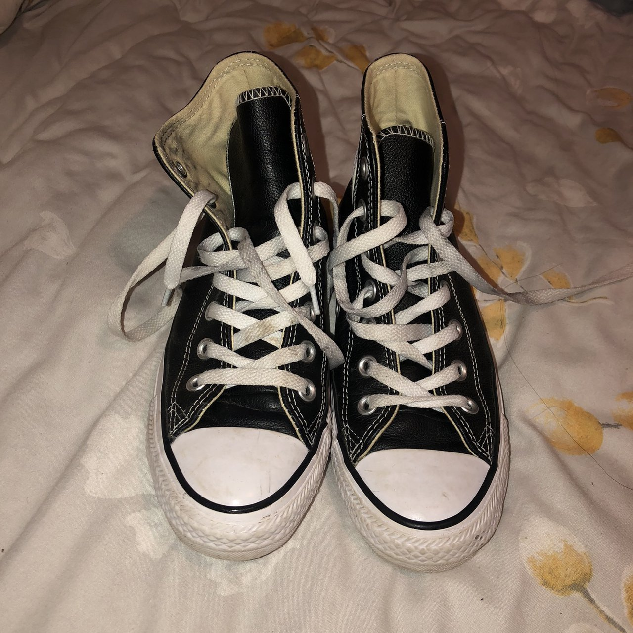 Black leather converse. Size 4. Really