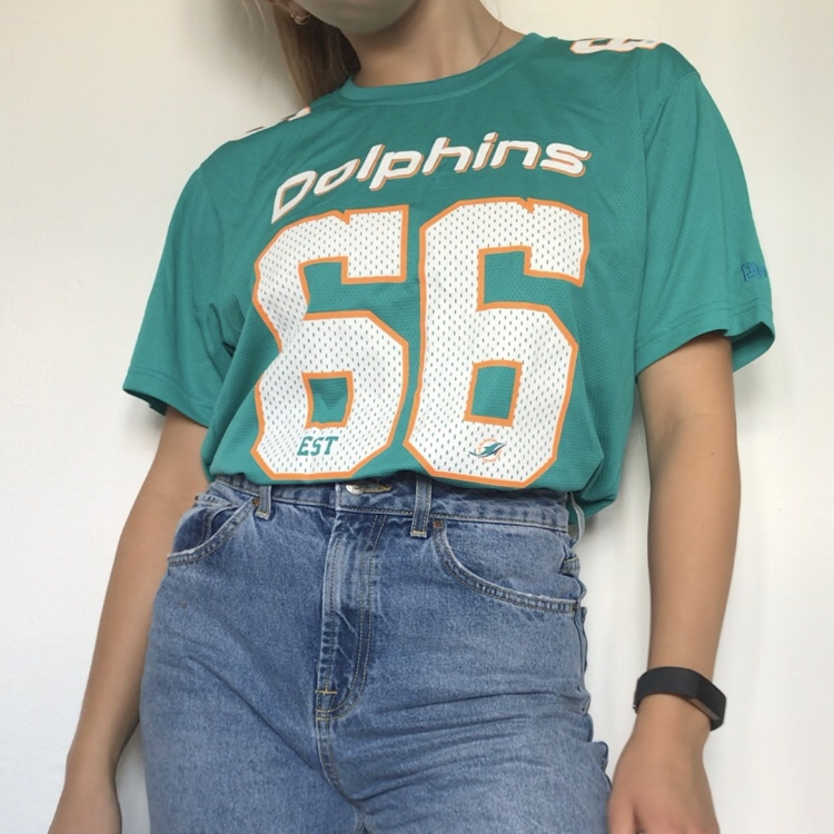 size 40 0d495 5f94f Miami dolphins nfl shirt 66 size L. Oversized... - Depop
