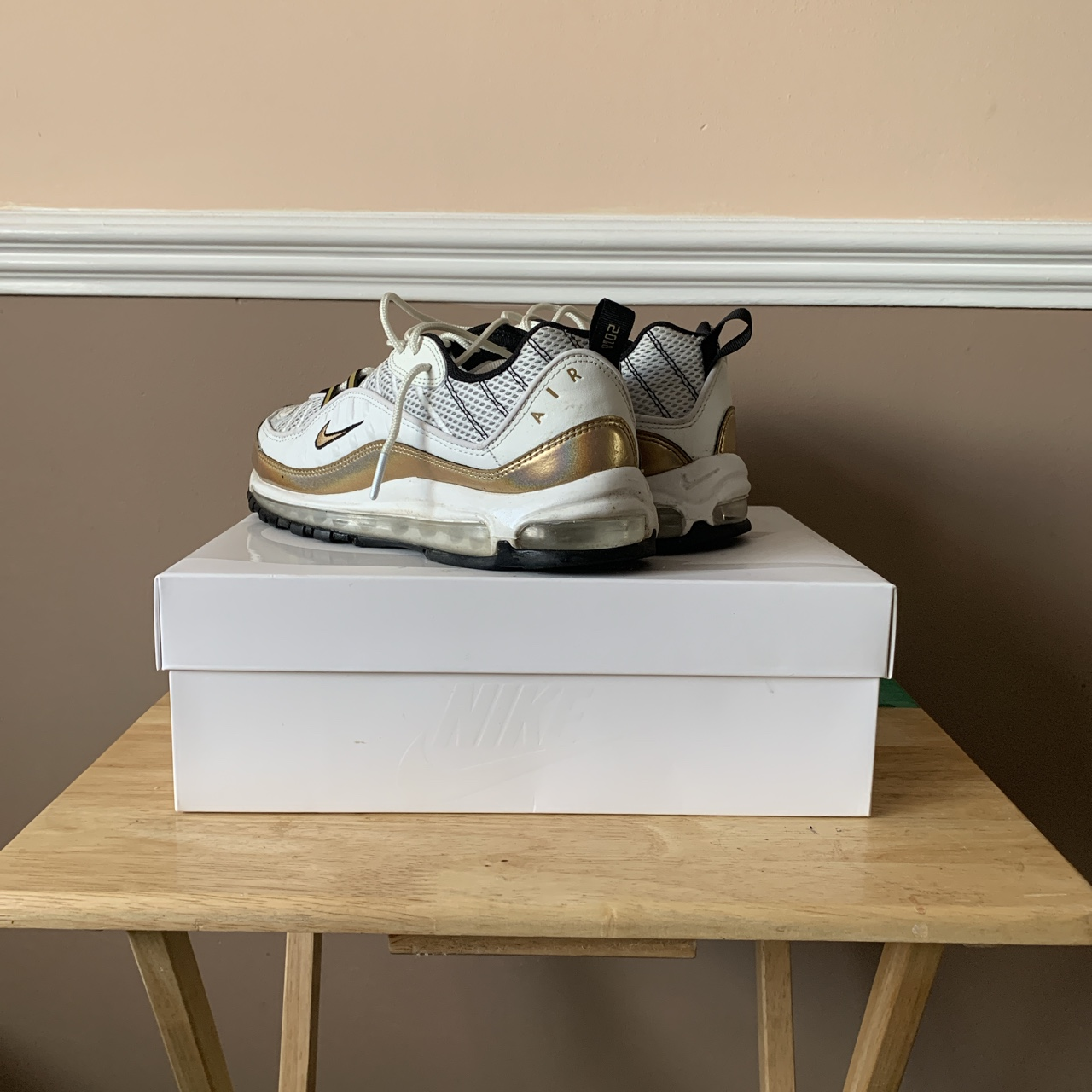 cheaper a11a8 22773 AIR MAX 98 UK HYPERLOCAL UK WHITE/GOLD Willing to... - Depop