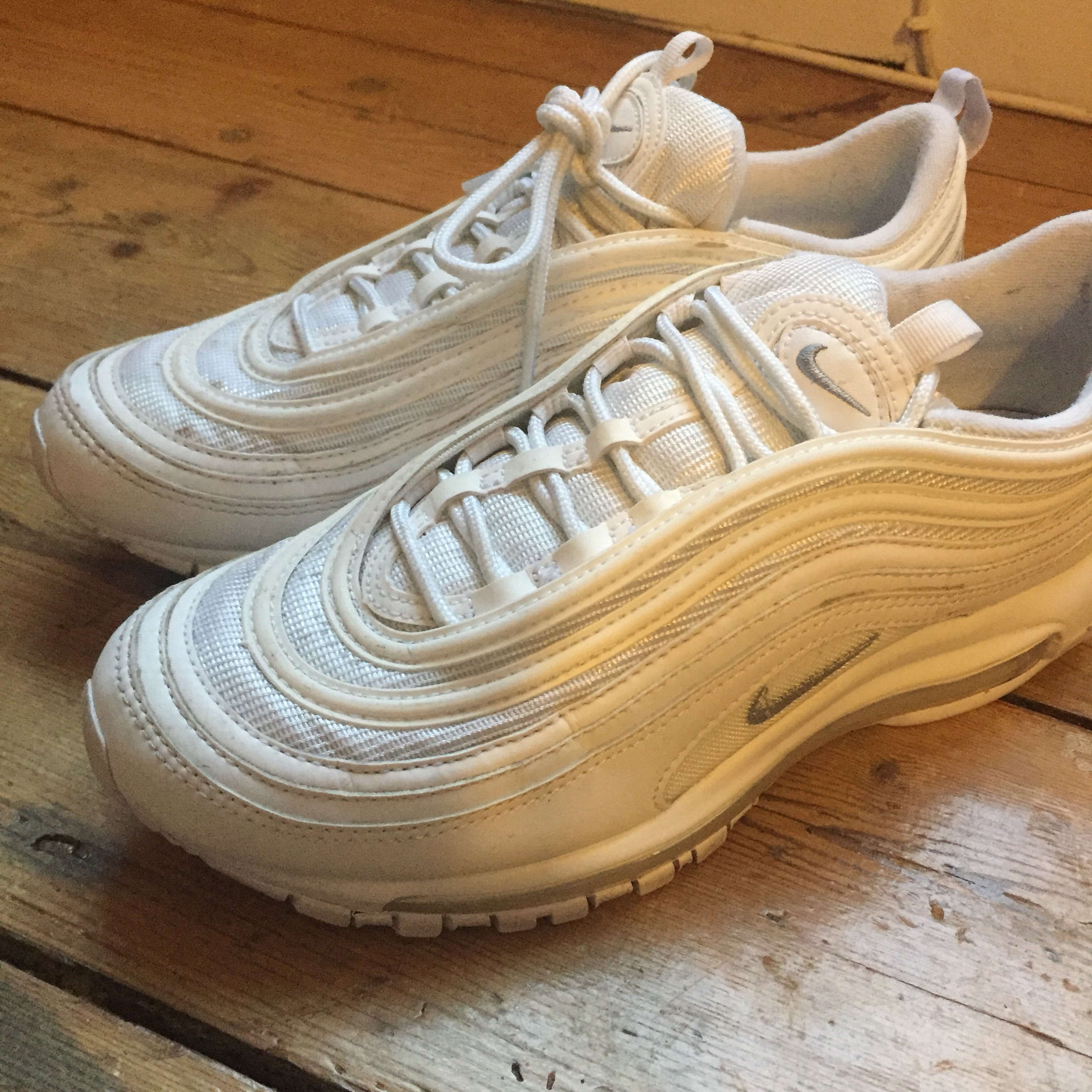 big sale 3c05f 88fc6 nike air max 97 triple white. mens uk size 7. only... - Depop