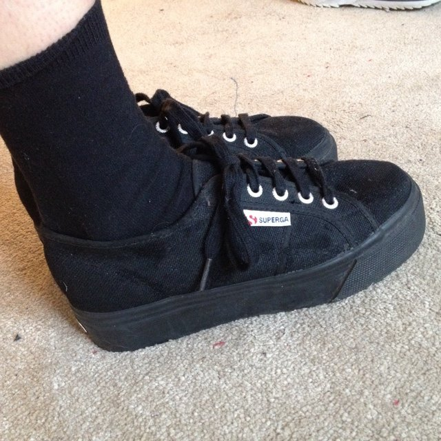 666488d01d279 Black SUPERGA platform plimsoles excellent condition (EU 37) - Depop