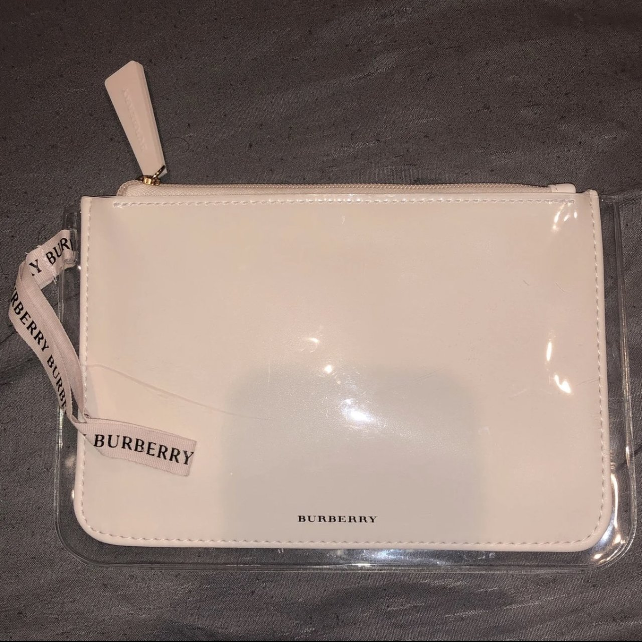 049c647ee5f3 Authentic Burberry Cosmetics Bag Glossy blush pink cream was - Depop