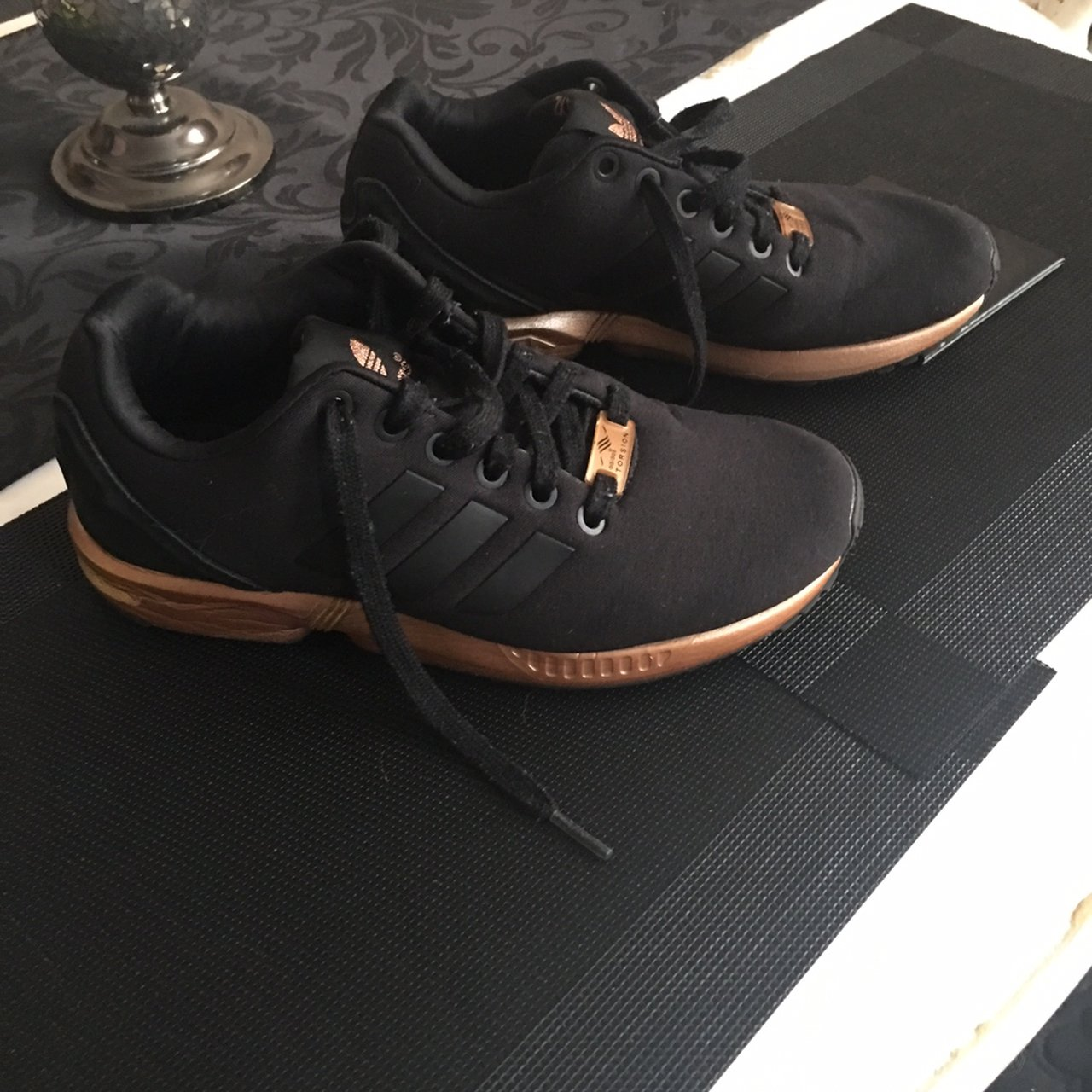 6e2e7b5445d56 ladies/teens Adidas trainers. Black material with rose gold - Depop