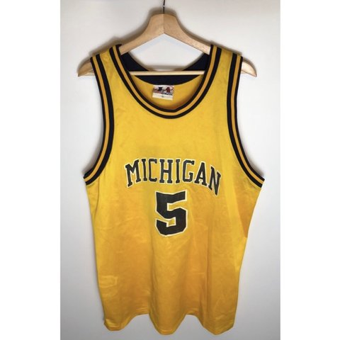 829dc0260a1 @captainxthrift. 6 months ago. Shoreview, United States. Vintage Michigan  Wolverines Fab 5 Jalen Rose replica jersey Large