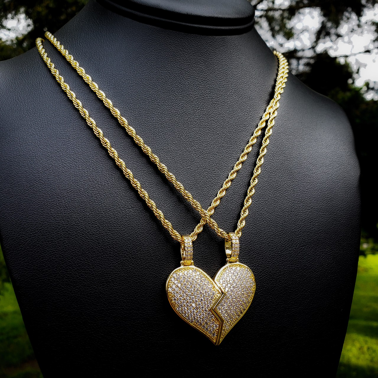 Gold Magnetic Couples Heart Necklace Set Available    - Depop