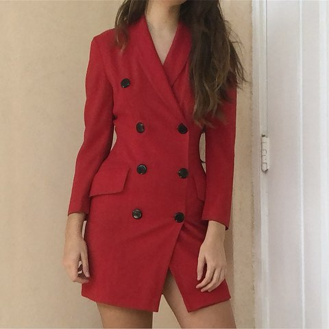 d46c19179d03 @iviaretro. 4 months ago. Miami Beach, United States. VINTAGE RED DOUBLE  BREASTED BLAZER DRESS