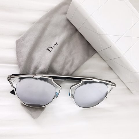 e8ff4bfc546ed Christian Dior So Real black silver mirror sunglasses Worn - Depop