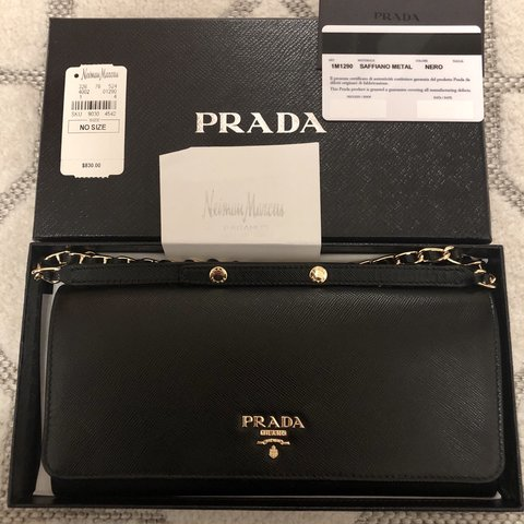 5371a11555c5 @han_19. 5 months ago. New York, United States. Authentic Prada Saffiano  leather wallet on a chain ...