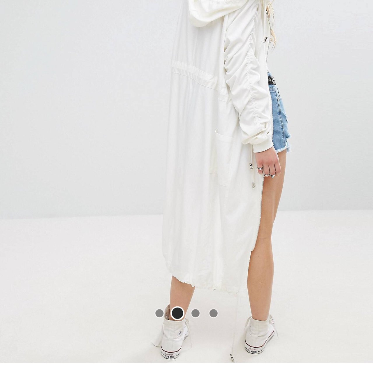 Missguided long rain coat white 7a0778f35192d