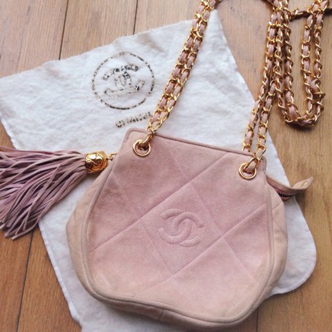 a3465f82c56c Vintage CHANEL baby pink suede with gold chain & tassel VERY - Depop