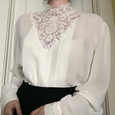 Vintage Cream Victorian Style High Neck Blouse With Lace A Depop