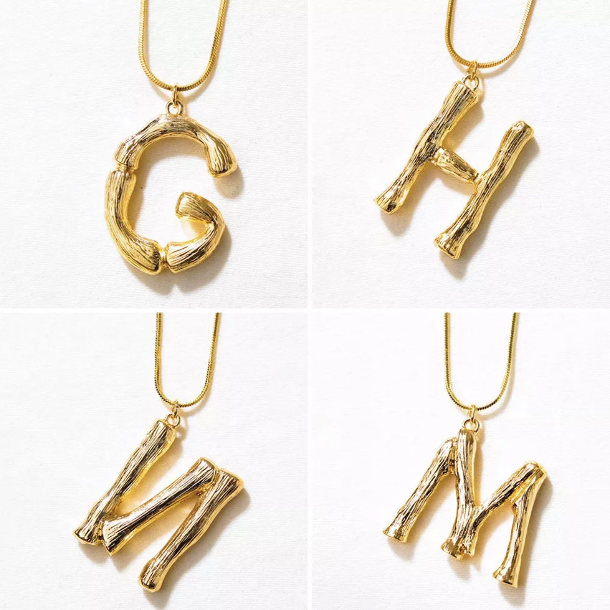 2b2d85641b5d8 Celine style gold bamboo initial necklace. Very... - Depop
