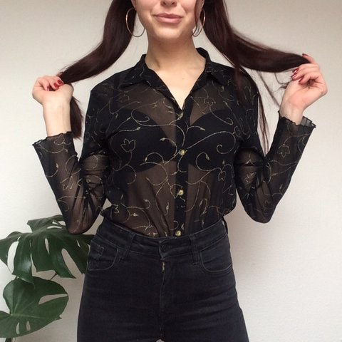 dd658774 @bmnk. 3 months ago. Leeds, United Kingdom. Beautiful vintage Sarah Glenzer sheer  mesh button up blouse shirt ...