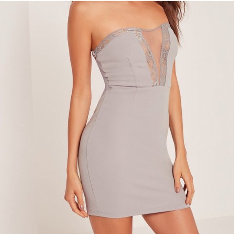 0635b32ee4 missguided grey lace mesh plunge dress. Size 8 never been in - Depop