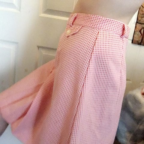 2dcaf69c6 Beautiful 50s 60s white and orange checkered midi skirt! is - Depop