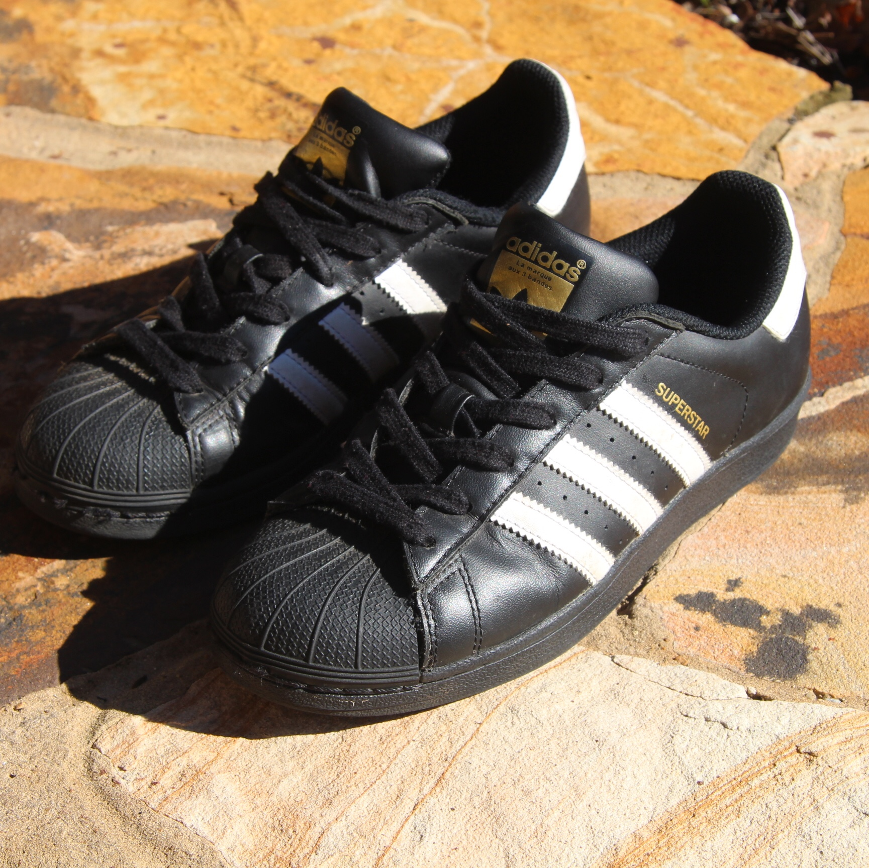 Adidas superstar sneakers all black with white Depop