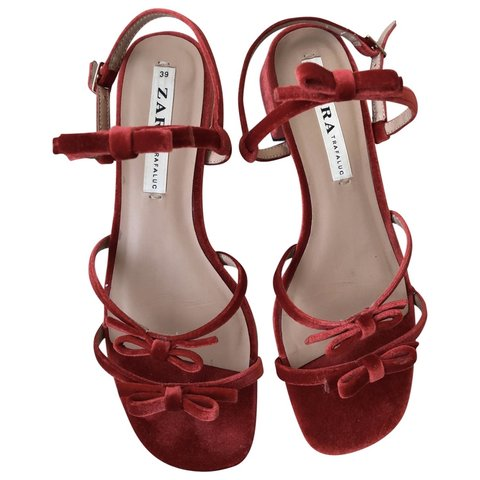 e61ffcf75d9d Red Velvet strappy sandals with bows. Low heel very and in - Depop