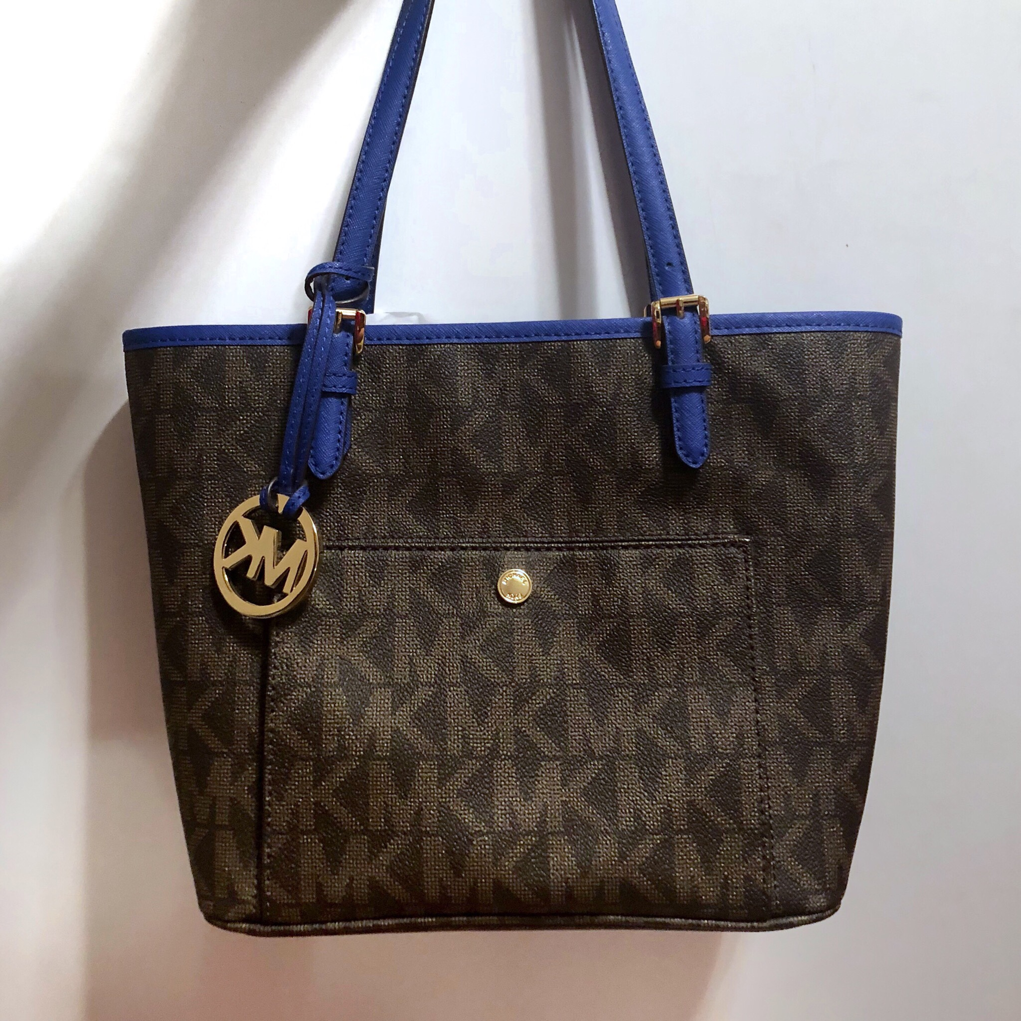 Michael Kors Monogram Royal Blue Accent Jet Set Tote