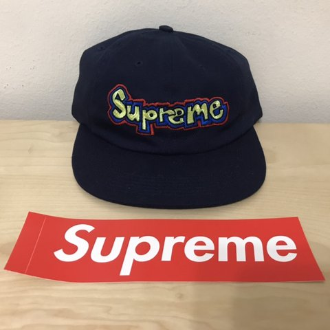 c81ba126fd3 SUPREME GONZ LOGO 6-PANEL HAT SS18 NAVY BRAND NEW WITH OR - Depop