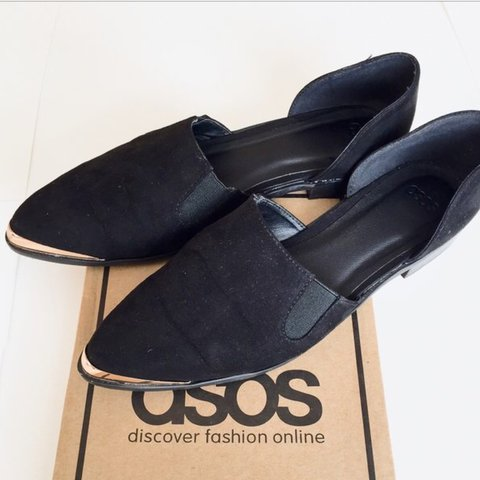 87088dbe3dd ASOS Maddison black pointed suede loafers Size 5 Top part - Depop