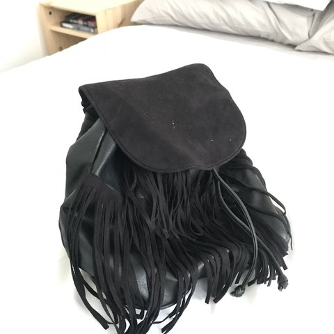 d61b9be9912d Black fringed small backpack- originally from H M. Faux and - Depop