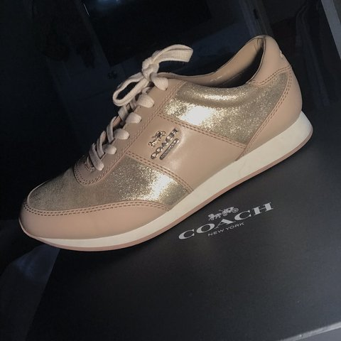 426f6b18d @kaileyzuniga. 5 days ago. Flint, United States. Coach nude and gold tennis  shoes💰 Barely worn size 6.5 in Women ...