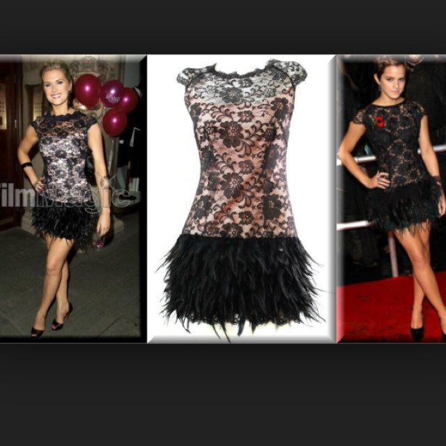 Lace Feather Gatsby Dress In Black Size 10 Would Fit A 12 Depop