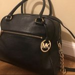 d642cc6c084972 Michael Kors navy blue purse with dividers great for work In - Depop