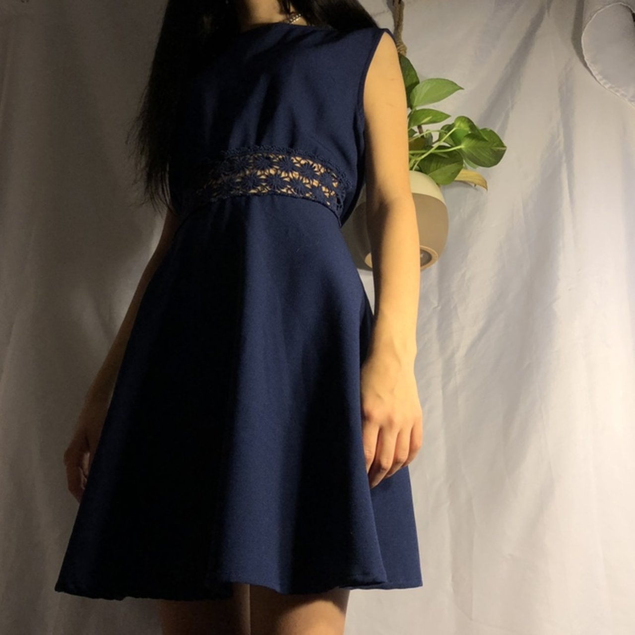 993267953b FREE SHIPPING ✈ dark blue simple dress with lace cut out a - Depop