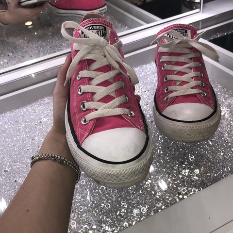 ad8598804c6f Ahhh these are so adorable!! Bright pink low top converse a - Depop