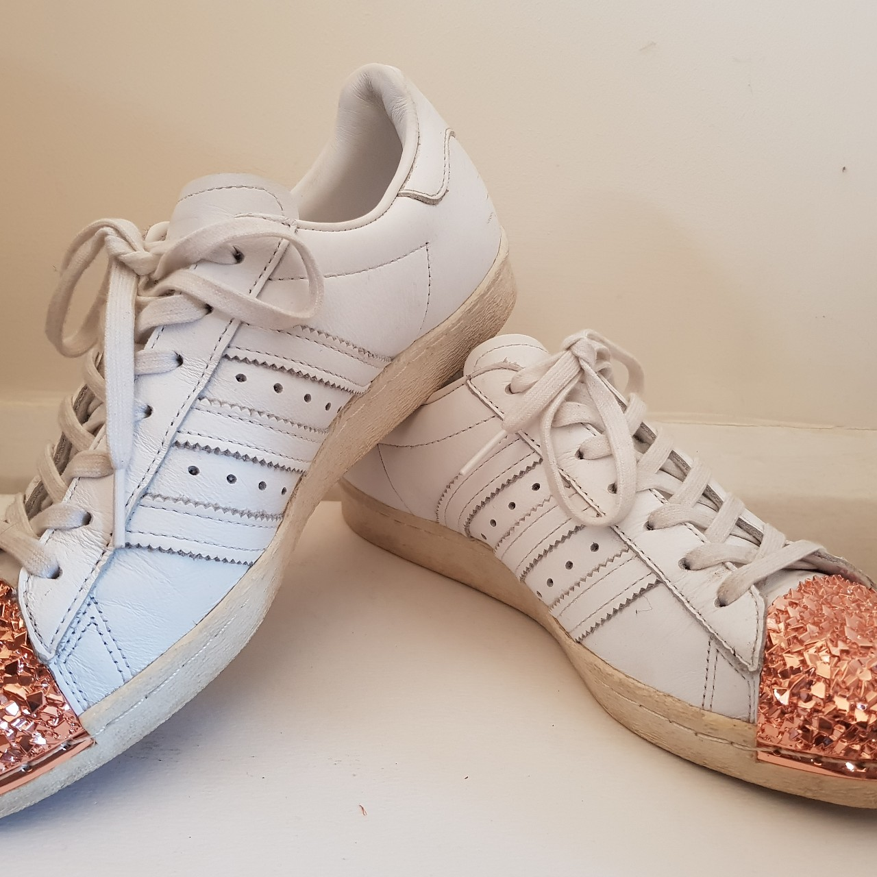 price reduced good looking presenting Adidas super star rose gold medal toe all white UK... - Depop
