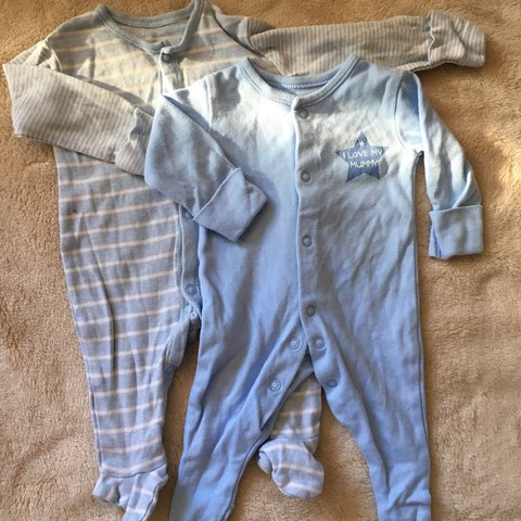 4f7c78568 2 baby boy sleepsuits, both from george, stripe is first and - Depop