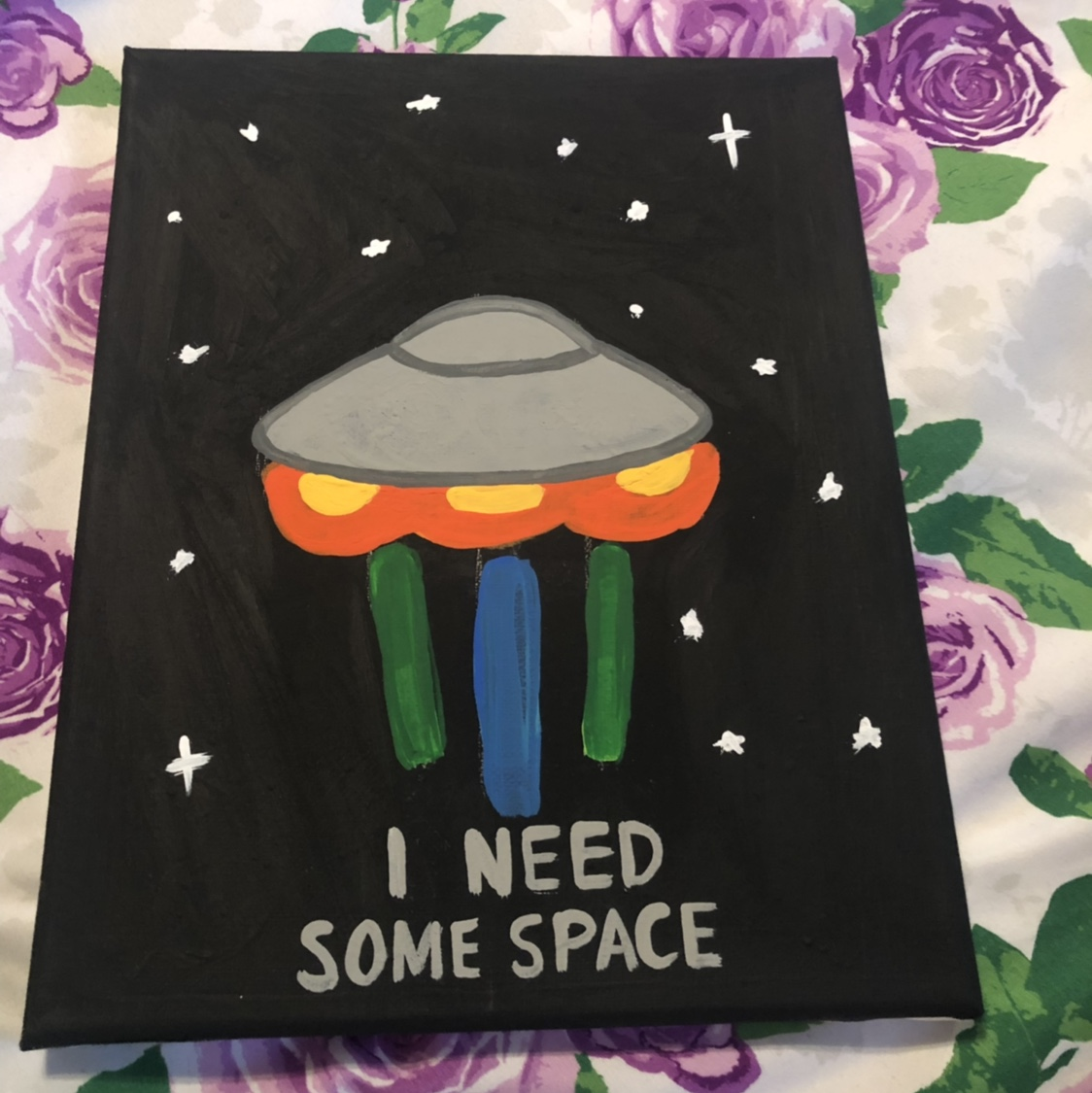 I need some space painting, spaceship   Acrylic    - Depop