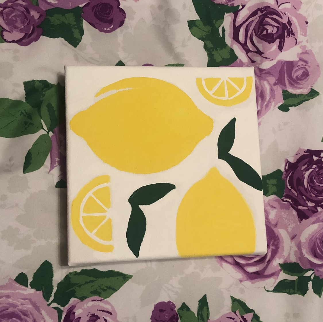 Lemons and leaves acrylic painting canvas, size 6x6    - Depop