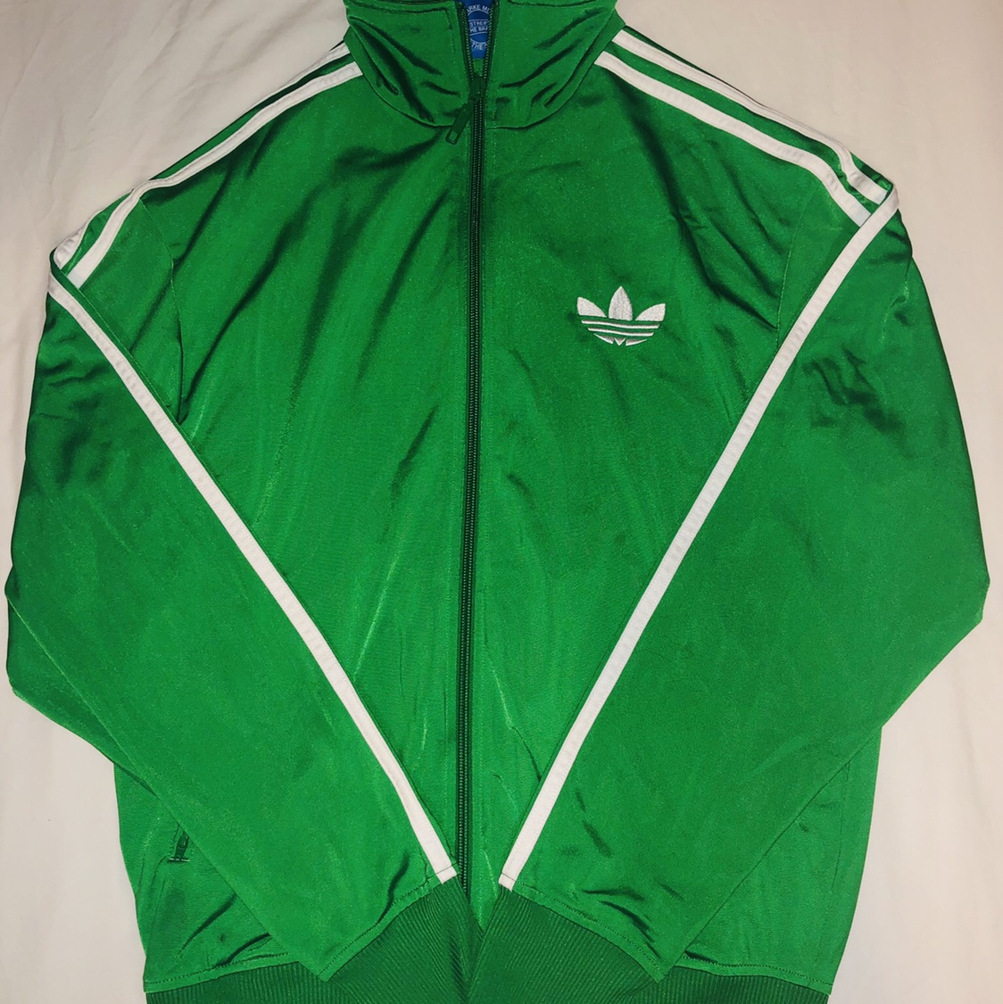 Bright green Adidas 80s style track Jacket in mens Depop